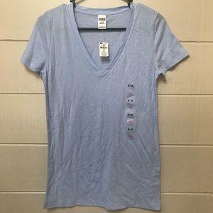 PINK • Light Blue Cap Shortsleeve Shirt Medium NWT